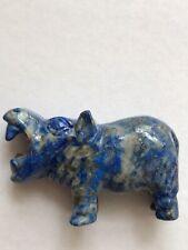 Hand Carved Lapis Lazuli Hippo Figurine Sculpture