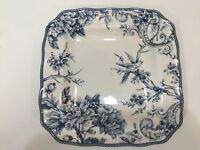 "222 Fifth Adelaide Blue & White Fine China Square Dinner Plate, 11"" x 11"""