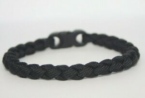 Black Paracord Woven Round Braided Paracord Bracelet Unisex Trendy