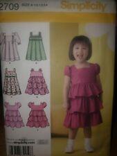 SIMPLICITY 2709 GIRLS DRESS SKIRT VARIATIONS SZ 1/2-1-2-3-4