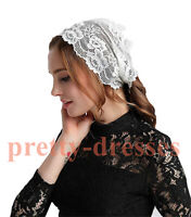 White Lace Mantilla Chapel Veils for Church Tie style Headwrap Covering Headband