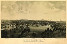 Highland Illinois panorama c1894 map 24x16