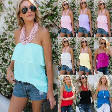 Women's Off Shoulder Bandeau Boob Tube Tops Ladies Summer Chiffon Blouse T-Shirt