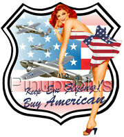 Waterslide Decal Sticker Pinup Girl B25 Airplane Buy American Flag Sexy Redhead