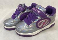 Heelys Plus X2 Girls Youth 1 Skate Shoes Sneakers 2 Wheels Purple Silver Lights