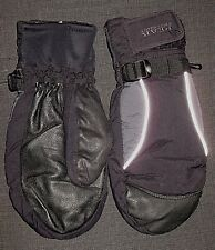 PEAK TECHNOLOGY BLACK NYLON LEATHER WINTER SKI MITTENS MENS SIZE LARGE