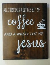 All i need is coffee and jesus wooden home decor with hanger installed