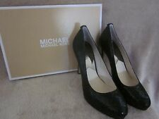 MICHAEL KORS Womens Georgia Pump Black Glitter Leather Heels Shoes US 8.5 M NWB