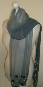 Grey Blue Silk Ombre Stole Wrap Black Silver Sequins Beads Embroidered Scarf