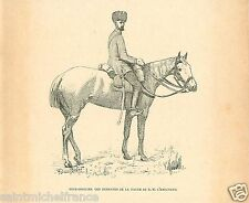 Sub-officer Hussar UNIFORM Imperial Guard Alexander III RUSSIA OLD PRINT 1893