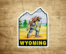 "Wyoming Hiking Sticker Decal 3.75"" x 2.75"" Hiker Vintage Travel"