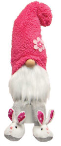 """Gnome T4043 Houseshoe Hunnies Coral Pink Fuzzy Hat Bunny Slipper White Beard 17"""""""