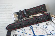 18mm European Hand-Made Rally Racing Quality Leather Watch Strap Black /Red Band