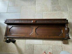 Antique Arts & Crafts dark Oak carved wall panel (for hall shelf rack upstand