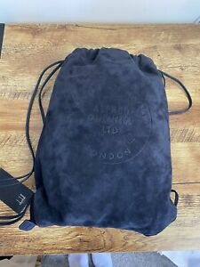Dunhill 100% Suede Leather Navy Chiltern Drawstring Backpack BNWB RRP £625