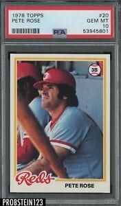 "1978 Topps #20 Pete Rose Cincinnati Reds PSA 10 "" RAZOR SHARP CORNERS """