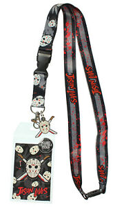 """Friday The 13th Jason Lives ID Lanyard Badge Holder With 1.5"""" Rubber Pendant"""