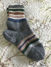 New Hand Knitted Warm Wool Blend Gray Socks Size 7-7.5