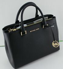 NEW AUTHENTIC MICHAEL KORS KELLEN BLACK MD MEDIUM SATCHEL LEATHER HANDBAG WOMENS