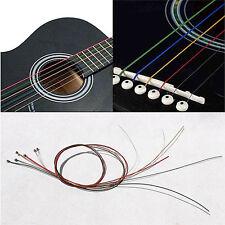 Cordes guitare acoustique cordes Guitar une série 6pcs Rainbow couleur colorée^*