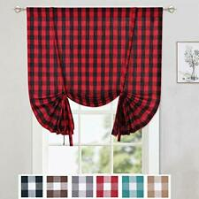 Caromio Tie Up Curtains for Kitchen Windows Buffalo Check Plaid Gingham Chris.