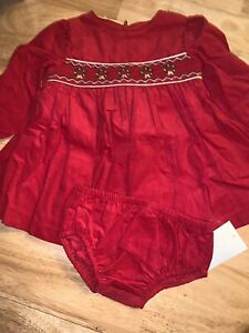 Bonnie Baby Baby by Bonnie Jean Christmas Holiday Dress & Bloomer BNWTS $50.00
