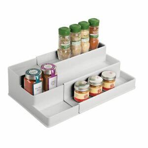 mDesign Expandable Kitchen Cabinet, Pantry Organizer/Spice Rack - Light Gray