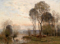 No framed Oil painting beautiful sunset landscape with cows by stream forest