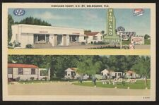 Postcard MELBOURNE Florida/FL  Highland Motel Motor Court Cottages view 1940's