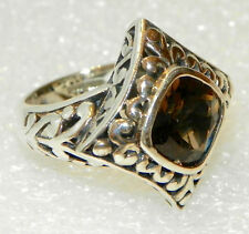 Large Serling Silver Artisan Crafted  Smoky Quartz Oxidized Ring -7