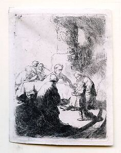 "Original Rembrandt Etching of "" Jesus as a Young Boy "" , 3 1/2"" x 2 5/8"" w/ COA"