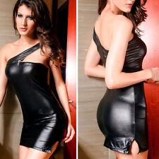 Shiny Black Sexy Mini Dress One Shoulder Zipper Accent Clubwear Stretch Bodycon