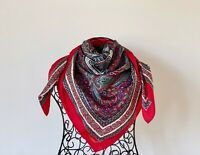 Vintage Paisley Scarf, Large silky Scarf in royal blue, red, white, green 34.5""