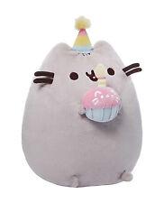 """NWT GUND Authentic Pusheen Birthday Cupcake Gray Tabby Cat Plush Toy 10"""" H"""
