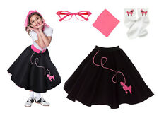 Hip Hop 50s Shop 4 pc Girls Poodle Skirt Outfit Halloween or Dance Costume