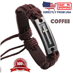 Men's Metal Cross and Leather Wristband Bracelet