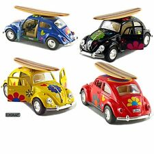 4PC SET Kinsmart 1967 Volkswagen Beetle Decal w/Surfboard Diecast Model 1:32 VW