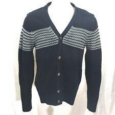 Nautica Navy Blue Stripe Knit Textured Cardigan Sweater in XL MSRP $118