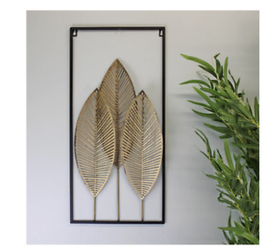 Three Gold Painted Metal Home Wall Hanging Art Leaf Ornament Sculpture 58cm