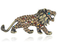 Geunine Topaz Crystal Rhinestone Roaring King Lion Animal Pin Brooch Jewelry New