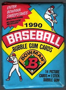 2 (two) 1990 BOWMAN BASEBALL PACK