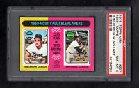 1975 TOPPS MINI #207 1969-MVP'S KILLEBREW/MCCOVEY PSA 8 NM/MT CENTERED!