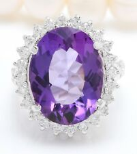 10.34 Quilate Natural Morado Amatista y Diamantes en 14K Blanco Anillo de Oro