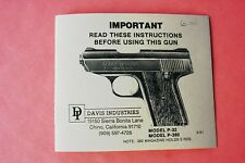 Small Reference Owner's Manual For Davis P-32 and P-380 Semi Auto Pistol