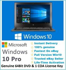 Microsoft Windows 10 Pro Professional 64Bit DVD Disk & 1 PC Onlne License Key