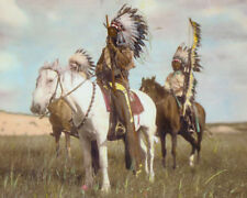 "CHIEF RED FOX NATIVE AMERICAN INDIAN SIOUX 8x10"" HAND COLOR TINTED PHOTOGRAPH"