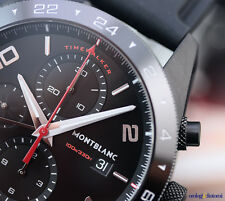 Montblanc TimeWalker Chronograph UTC 43mm Black Steel DLC on Rubber Automatic