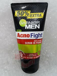 150g Garnier Men Acno Fight Foam Gentle Scrub Face Wash Anti Acne Cleansing