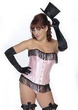 corsé bustier rosa y negro con flecos negras pinup retro cabaret S L XL XXL