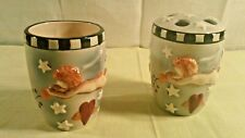 Debbie Munn Ceramic Toothbrush Holder and Tumbler Set Angels and Hearts